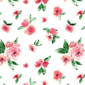 Watercolor Floral Coral Small