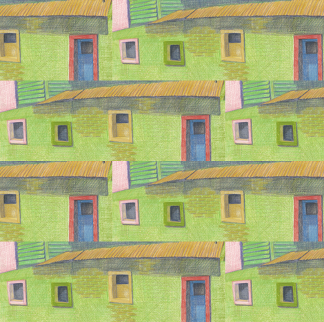 La Boca Pink Window fabric by heather_bird_fabrics on Spoonflower - custom fabric