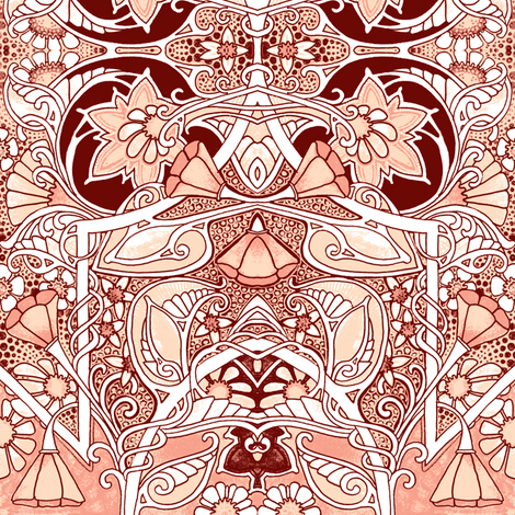 Fantasy Garden (peach and brown) fabric by edsel2084 on Spoonflower - custom fabric