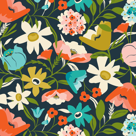 Nightshade - Floral Dark Navy / Midnight fabric by heatherdutton on Spoonflower - custom fabric