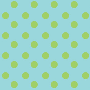 polka dots Large - turquoise  lime