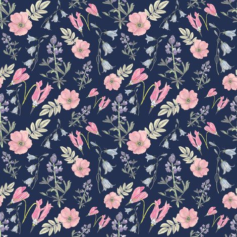 Watercolor wildflowers navy small fabric by madrona_tree on Spoonflower - custom fabric