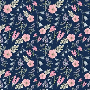 Watercolor wildflowers navy small