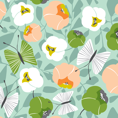 Butterfly Blossom - Floral Sage & Peach fabric by heatherdutton on Spoonflower - custom fabric