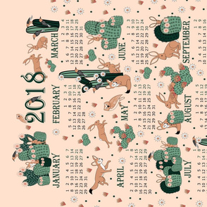 2018 fox and rabbit calendar
