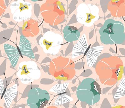 Butterfly Blossom - Floral Desert Blush