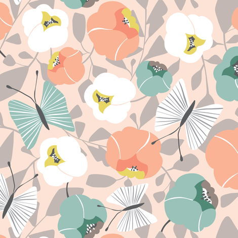 Butterfly Blossom - Floral Desert Blush  fabric by heatherdutton on Spoonflower - custom fabric