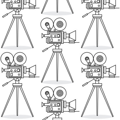 white vintage-movie-cameras fabric by lilcubby on Spoonflower - custom fabric