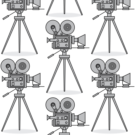 grey vintage-movie-cameras fabric by lilcubby on Spoonflower - custom fabric