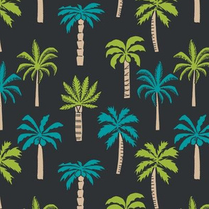 palm tree fabric // tropical summer linocut design by andrea lauren palm prints - black lime and blue