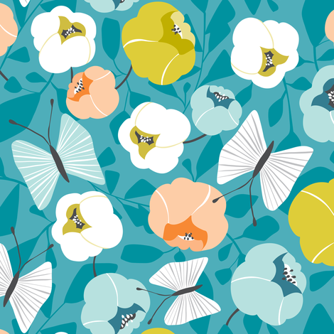 Butterfly Blossom - Floral Turquoise fabric by heatherdutton on Spoonflower - custom fabric