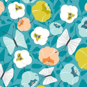 Butterfly Blossom - Floral Turquoise