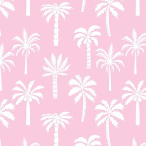 palm tree fabric // tropical summer linocut design by andrea lauren palm prints - pink and white