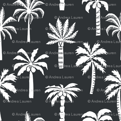 palm tree fabric // tropical summer linocut design by andrea lauren palm prints - charcoal and white