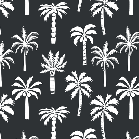 palm tree fabric // tropical summer linocut design by andrea lauren palm prints - charcoal and white fabric by andrea_lauren on Spoonflower - custom fabric
