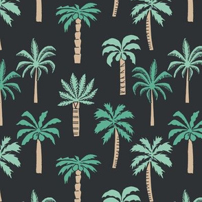 palm tree fabric // tropical summer linocut design by andrea lauren palm prints - charcoal
