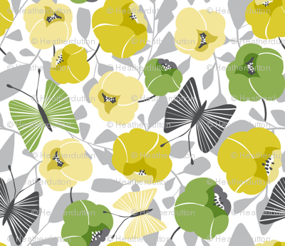 Butterfly Blossom - Floral Green & Grey