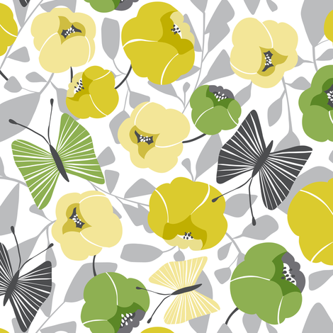 Butterfly Blossom - Floral Green & Grey fabric by heatherdutton on Spoonflower - custom fabric