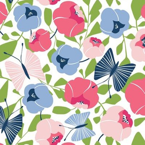 Butterfly Blossom - Floral Pink & Blue