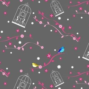 Bird cage and birds on flower ribbon