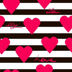 Black and Burgundy stripes and hearts