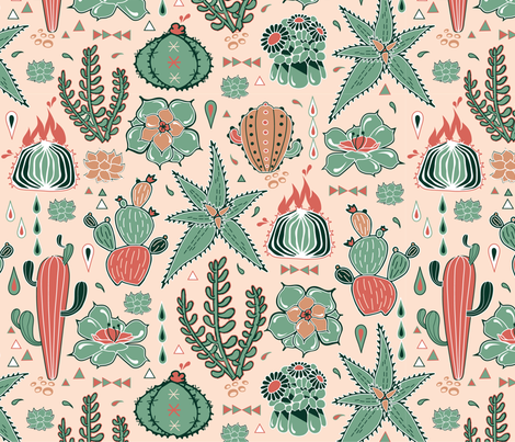 Succulents fiesta fabric by appaloosa_designs on Spoonflower - custom fabric