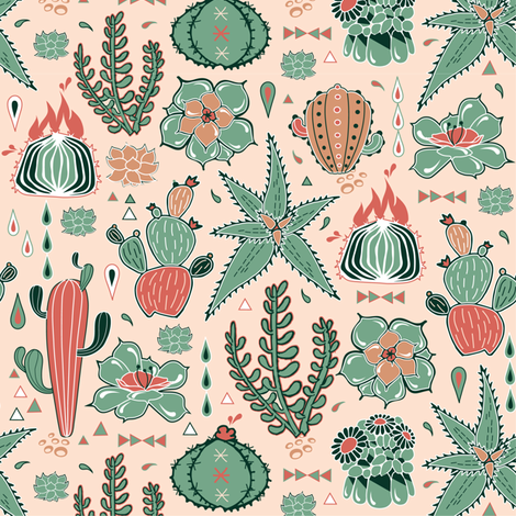 Succulents fiesta fabric by appaloosa_designs on Spoonflower - custom fabric
