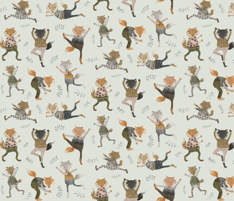 foxes trot on sage fabric by katherine_quinn on Spoonflower - custom fabric