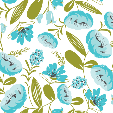 Camille - Floral Aqua White & Green fabric by heatherdutton on Spoonflower - custom fabric