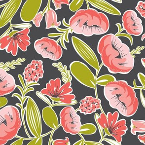Camille - Floral Pink & Charcoal Black