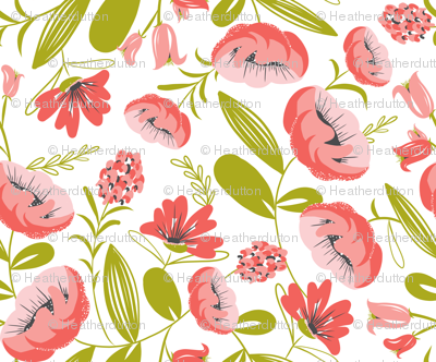 Camille - Floral Pink White & Green