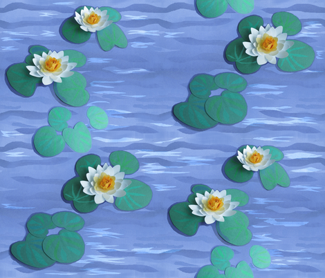 Paper Water Lilies on a Paper Lake fabric by khowardquilts on Spoonflower - custom fabric
