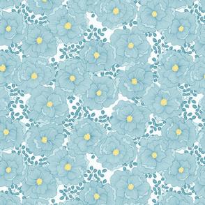 Wistful Blooms in sky blue