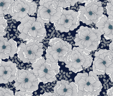 Wistful Blooms in midnight fabric by reikahunt on Spoonflower - custom fabric