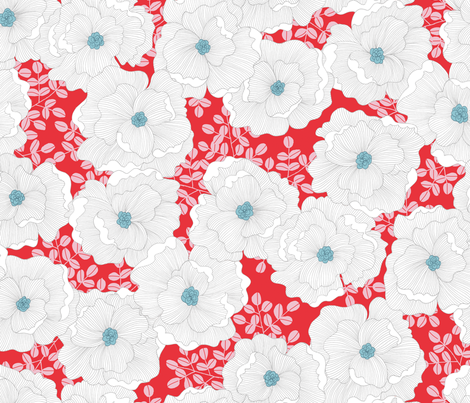 Wistful Blooms in red fabric by reikahunt on Spoonflower - custom fabric