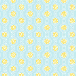 Wistful Blooms - Mandala in sky blue and lemon