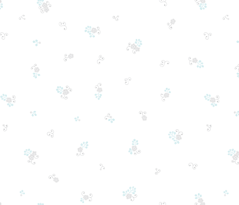 Wistful Blooms - Ditsy in white fabric by reikahunt on Spoonflower - custom fabric