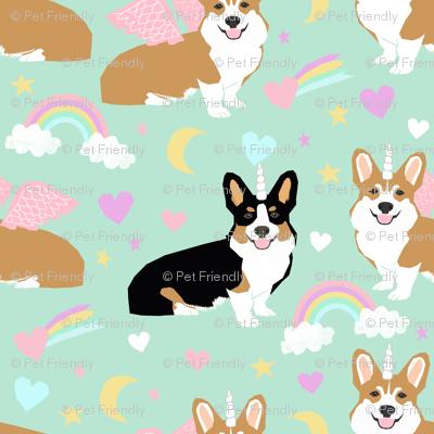 corgi unicorn fabric cute pastel rainbows dog design
