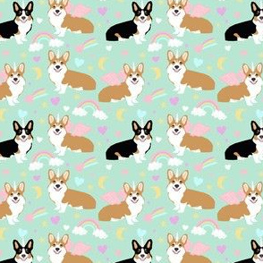 corgi unicorn fabric cute pastel rainbows dog design