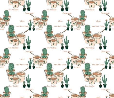 Potting time with cactus plants by Salzanos  fabric by salzanos on Spoonflower - custom fabric