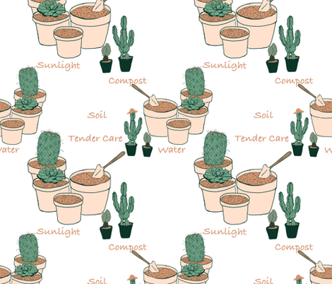 Potting time with cactus plants by Salzanos  fabric by salzanos on Spoonflower - custom fabric