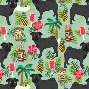 black pug fabric tiki tropical summer fabric - mint