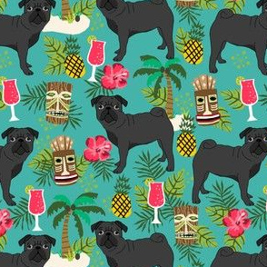 black pug fabric tiki tropical summer fabric - turquoise