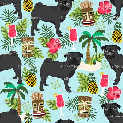 black pug fabric tiki tropical summer fabric - light blue