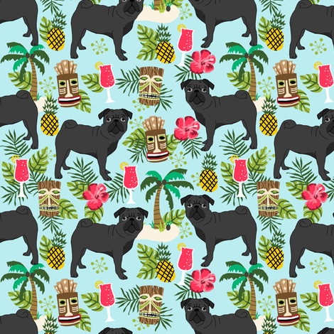 black pug fabric tiki tropical summer fabric - light blue fabric by petfriendly on Spoonflower - custom fabric