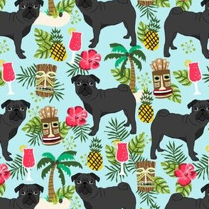 black pug fabric tiki tropical summer fabric - light blue