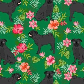 black pug hawaiian fabric tropical summer plants palm print fabric - green