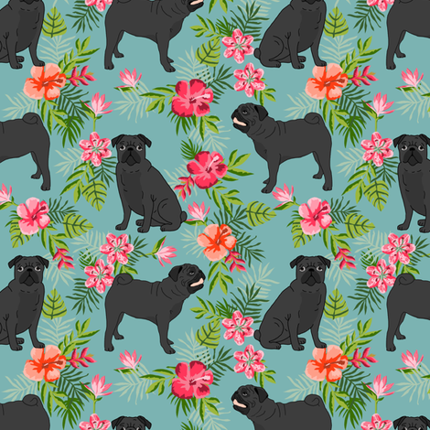 black pug hawaiian fabric tropical summer plants palm print fabric - gulf blue fabric by petfriendly on Spoonflower - custom fabric