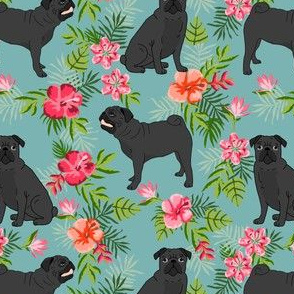 black pug hawaiian fabric tropical summer plants palm print fabric - gulf blue