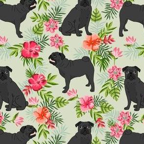 black pug hawaiian fabric tropical summer plants palm print fabric - lite